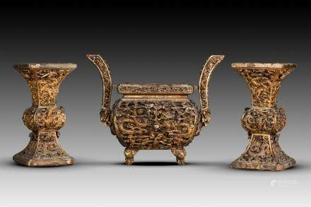 GOLD LAQUER ARCHAIC CENSER AND VASES, KANGXI PERIOD