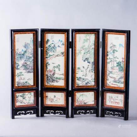 A SET OF PANELS MOUNTED AS A FOUR-FOLD SCREEN