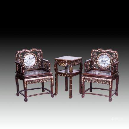 CHINESE MARBLE AND MOTHER-OF-PEARL INLAID HONGMU CHAIRS AND TABLE SET