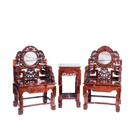 CHINESE MARBLE INLAID SUANZHI HARDWOOD CHAIRS AND TABLE SET