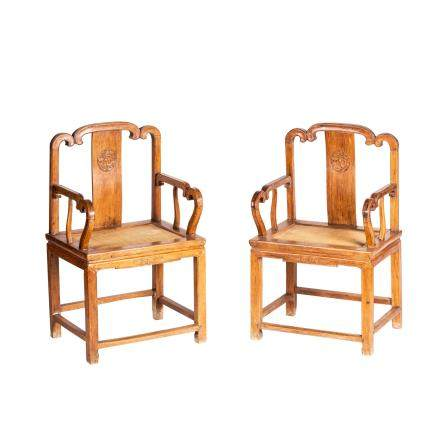 A PAIR OF HUANGHUALI 'SOUTHERN OFFICIAL'S HAT' ARMCHAIRS, NANGUANMAOYI (Y)