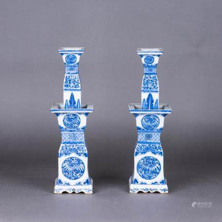 A PAIR OF BLUE AND WHITE PORCELAIN SQUARE SECTIONED CANDLE HOLDERS, QING DYNASTY