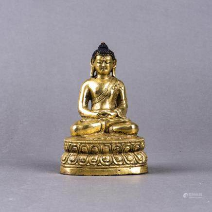 GILT BRONZE SHAKYAMUNI, POSSIBLY MING DYNASTY