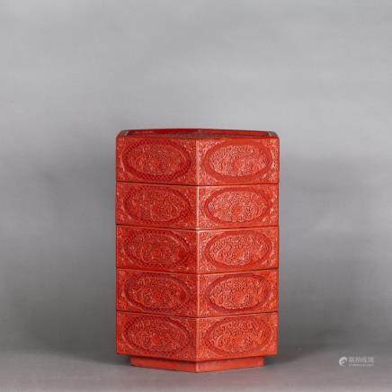 CINNABAR LACQUER FRUIT BOX, QING DYNASTY
