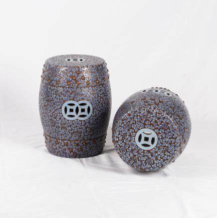 PAIR OF PAINTED ZISHA STOOLS, QING DYNASTY