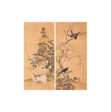 SHEN QUAN (QING DYNASTY), BIRD AND FLOWER/CAT AND FLOWER