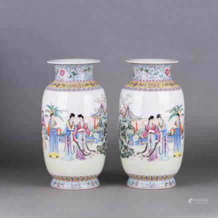 A PAIR OF FAMILLE ROSE 'FIGURAL' VASES