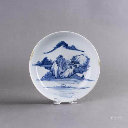 A BLUE AND WHITE LANDSCAPE PORCELAIN DISH