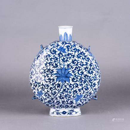 A BLUE AND WHITE MOONFLASK, BAOYUEPING