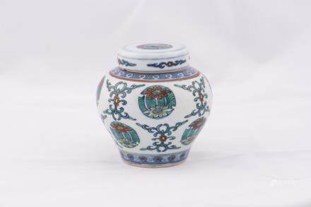 A CHINESE ANTIQUE DOUCAI JAR AND COVER, WANLI