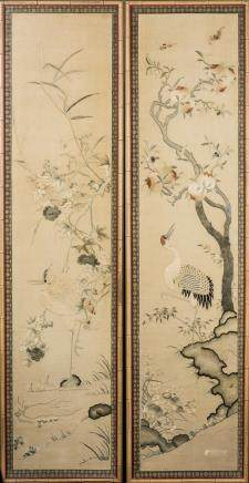 CHINESE EMBROIDERED SILK SCROLLS IN PAIR, FRAMED