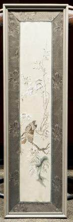A CHINESE EMBROIDERY OF BIRD AND FLOWER, FRAMED