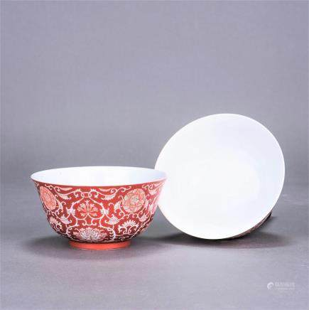 A CHINESE CORAL-RED REVERSE BOWL, DAOGUANG PERIOD