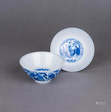 BLUE AND WHITE 'IMMORTALS' BOWLS PAIR, DAOGUANG PERIOD