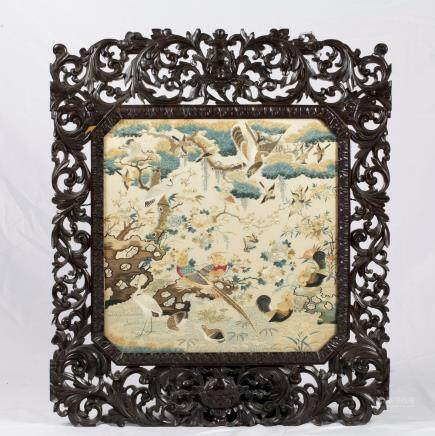 CHINESE EMBROIDERED PANEL, FRAMED