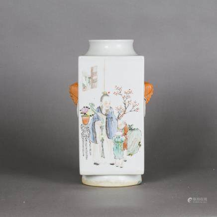 A FAMILLE ROSE SQUARE-SECTION VASE, CONG