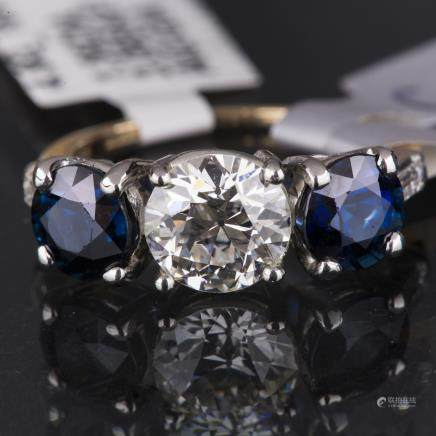 THREE-TIER SAPPHIRE DIAMOND RING, AIG CERTIFIED