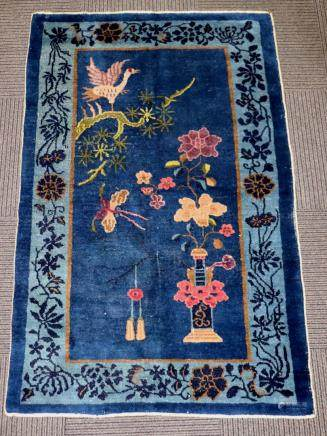 Chinese Qing Dynasty Wool Blue Carpet