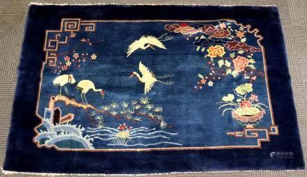 Chinese Art Deco Blue Wool Horizontal Carpet