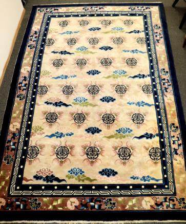 Lg Chinese Qing Bats & Shou Cut Wool Pile Carpet