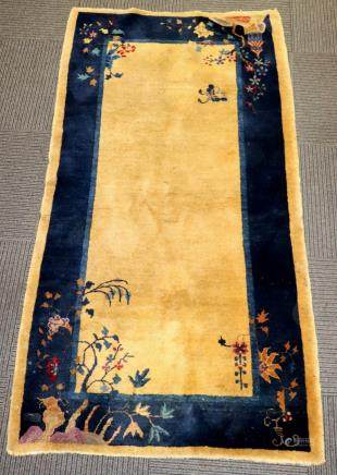 Chinese Qing Wool Pile Carpet Blue Camel Hair