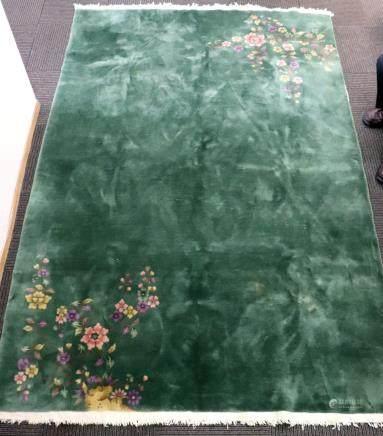 Lg Celadon Green Jade Ground Nichols Wool Carpet