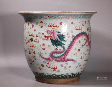 Christie's Lg Chinese 19C Porcelain Dragon Planter