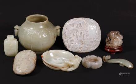 4 Chinese Ming & Qing Jades & 4 Antique Hardstones