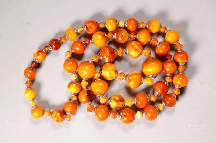 Butterscotch Amber Bead Necklace; 100G
