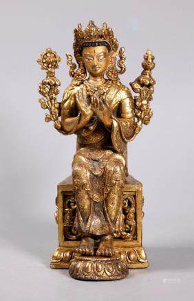 Tibetan 19C Seated Gilt Bronze Buddha Lotus Throne