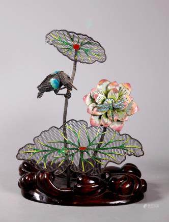 Chinese 925 Silver Wire Lotus Kingfisher Fly Frog