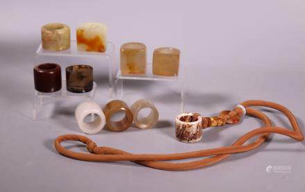 Chinese Qing Archer's Rings; 5 Agate, 5 Hardstone