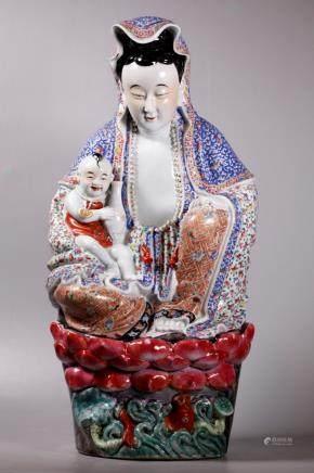 Zhumaojizao; Chinese Enameled Porcelain Guanyin