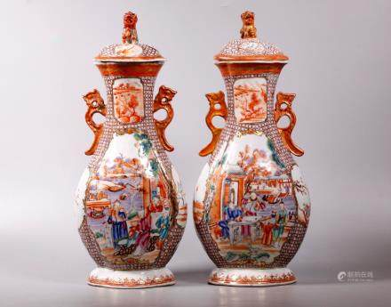 Chinese 18C Mandarin Figure Covered Porcelain Jars