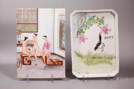 Chinese Erotic Porcelain Plaque; Artist Tea Tray