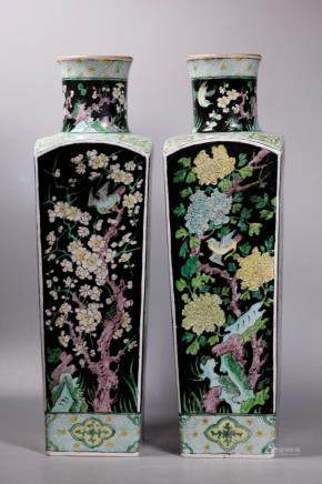 Christie's 2 Chinese Famille Noire Porcelain Vases