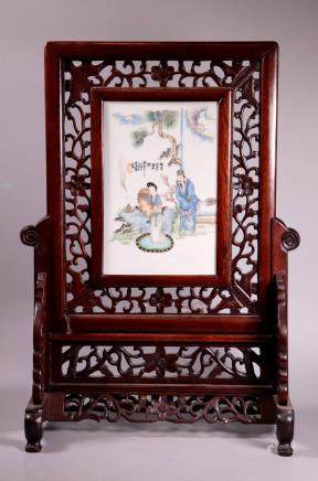 Chinese Late Qing Porcelain Plaque & Stand