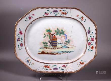 Chinese 18 C Clark Armorial Porcelain Platter