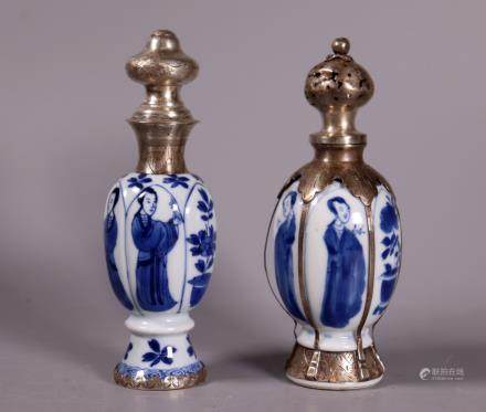 Chinese Kangxi Porcelain Mini Vases Dutch Silver