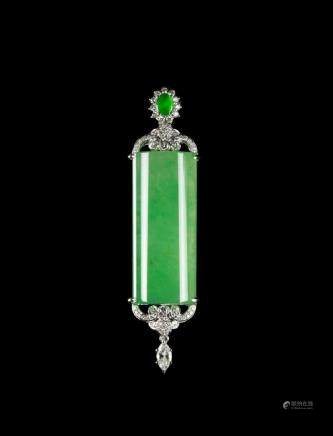 Large Rectangular Natural Jadeite Plaque Pendant