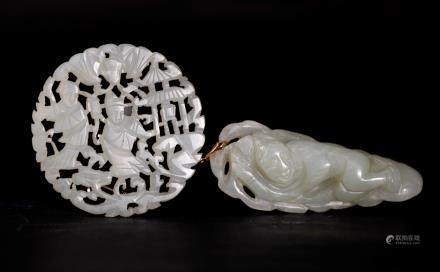 Chinese 19 C Celadon Jade Boy & Leaf Round Plaque