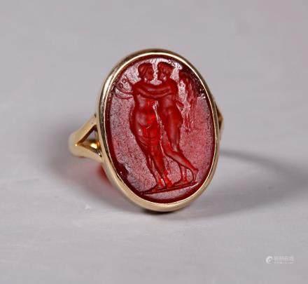Roman or Tassie Intaglio in Yellow Gold 18 Ring