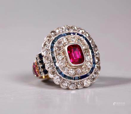 Art Deco Ruby Diamond Sapphire Cocktail 14K Ring