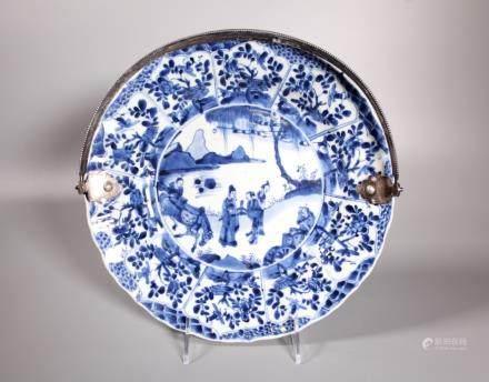 Chinese Kangxi Blue & White Porcelain & Silver