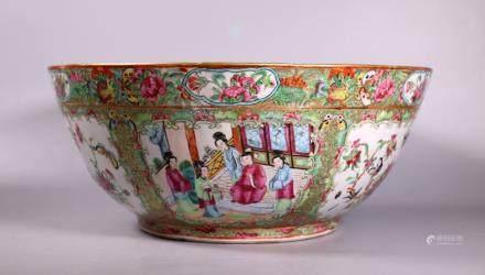 Chinese Famille Rose Mandarin Porcelain Lg Bowl