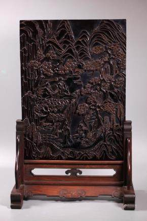 Chinese Carved Cherry Amber Landscape Plaque 1719G