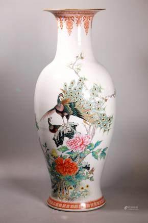 Lg Chinese Jingdezhen Peacock Porcelain Vase