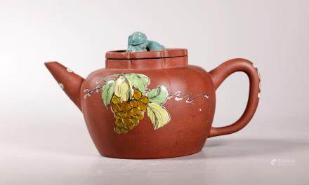 Chinese Enameled Yixing Melon Shaped Teapot