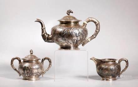 Tuck Chang Shanghai Chinese Silver 3 Pt Teapot Set