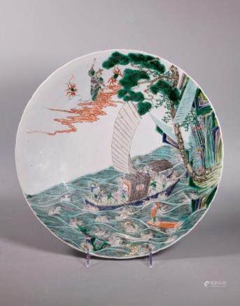 Chinese Qing Dynasty Famille Verte Porcelain Plate